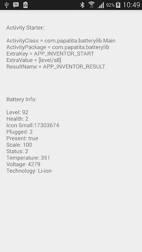 App Inventor Battery Info