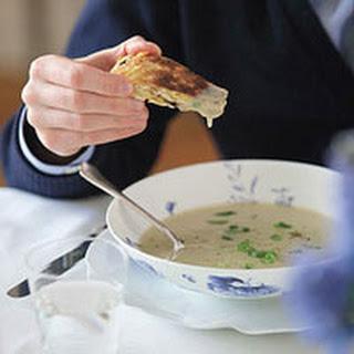 Potato Scallion Soup with Fried Matzo Dippers
