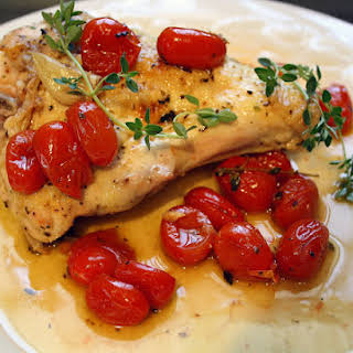 Quick Lemon Chicken with Garlic and Tomatoes.