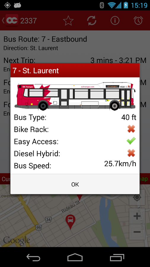 OC Transpo Tracker - screenshot