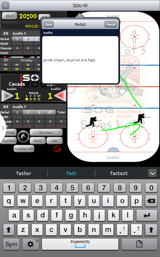 iSOG HD PRO Hockey Stats- screenshot