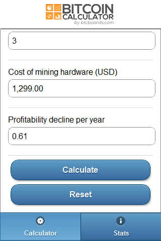 Bitcoin Calculator- screenshot