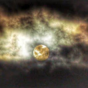 Night Sky with Yellowish Moon by Nat Bolfan-Stosic - Landscapes Starscapes ( clouds, moon, sky, night, yellowish )