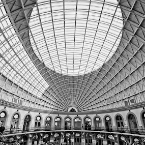 Here is a photograph I took from Leeds Corn Exchange.  Located in Leeds, Yorkshire, England, UK. by Michael D Beckwith - Black & White Buildings & Architecture