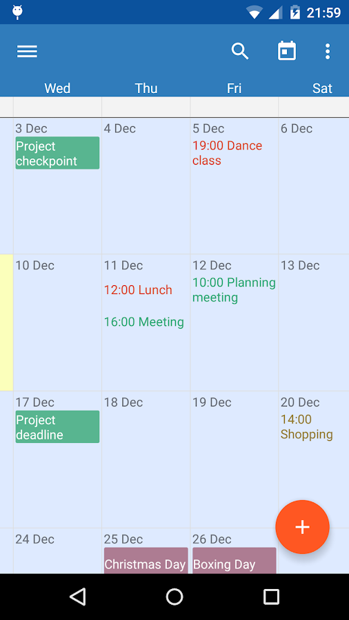 Touch Calendar Free - screenshot