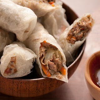 Duck Confit Fried Spring Rolls.