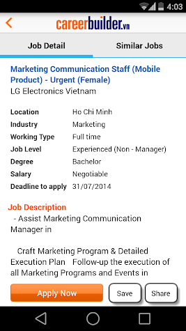 CareerBuilder.vn Job Search Screenshot