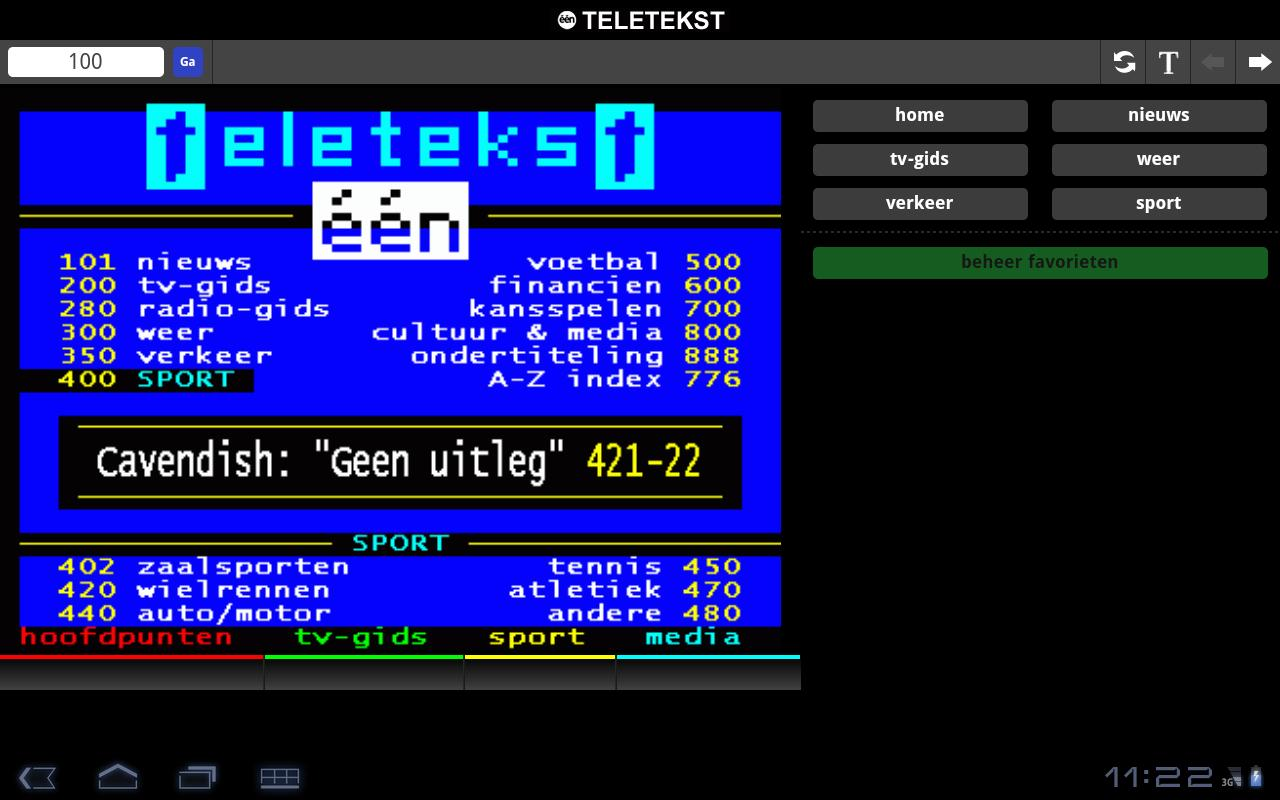 één Teletekst - screenshot