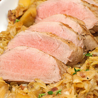 Beer-Braised Pork Tenderloin with Cabbage and Apples.