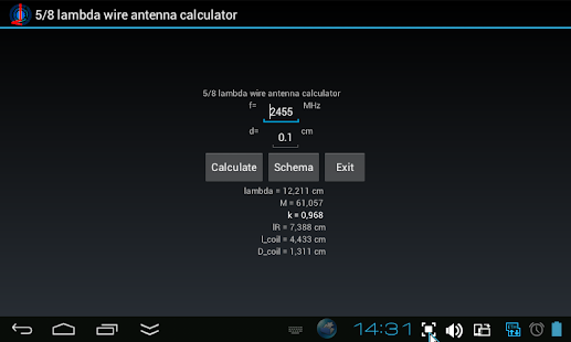 5/8 lambda antenna calculator - screenshot thumbnail