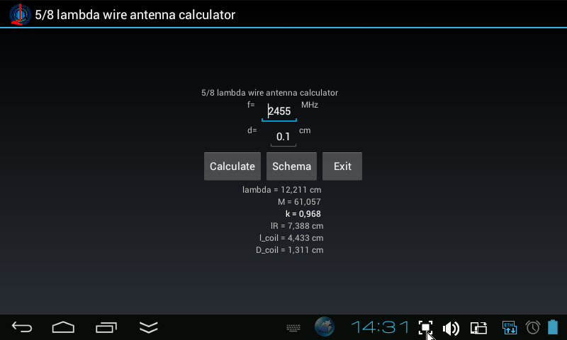 5/8 lambda antenna calculator - screenshot