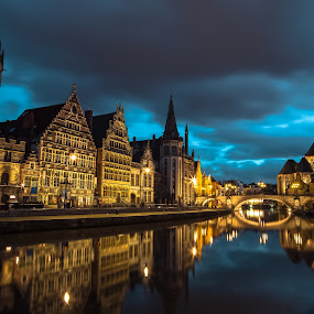 Ghent by Stephen Bridger - Buildings & Architecture Public & Historical ( europe, night photography, night, belgium, travel, gothic architecture, medieval, travel photography, ghent )