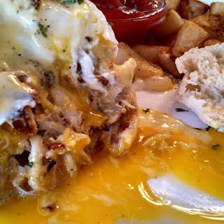 Crab Cakes Eggs Benedict w/ Skillet Browned Potatoes.