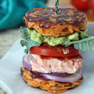 Salmon BLT & Avocado in a Sweet Potato Noodle Bun