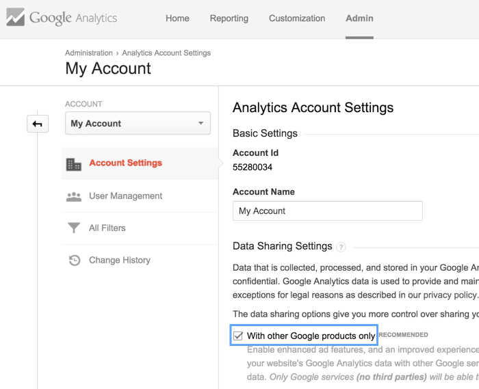 Account settings > Data Sharing options