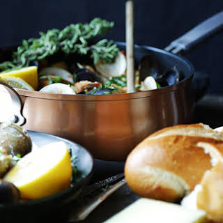 Seafood Linguine with Chorizo and Saffron.