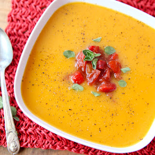 Butternut Squash Soup with Tomato Salsa.