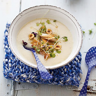 Creamy Celery Root Soup with Smoked Trout