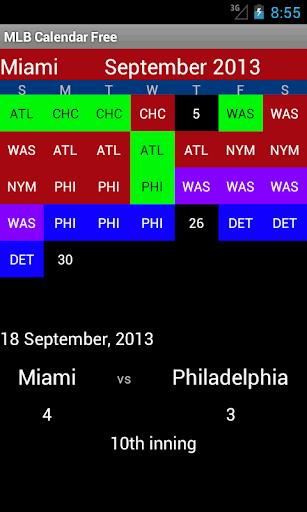 Professional Baseball Calendar