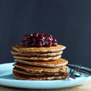 Dirty Chai Pancakes With Cranberry + Vanilla Compote.