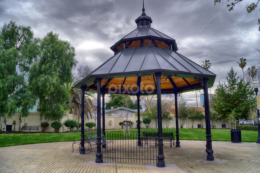 Sixth & William Gazebo by Rachel Santellano - Buildings & Architecture Other Exteriors ( hdr, park, san jose, fine art photography, fine art, 6th and williams, downtown san jose, gazebo, photography, san jose california )