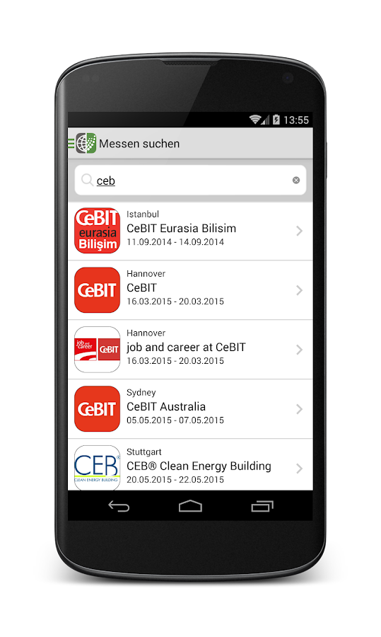 Messeninfo – Screenshot