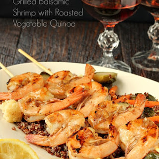 Grilled Balsamic Shrimp With Roasted Vegetable Quinoa.