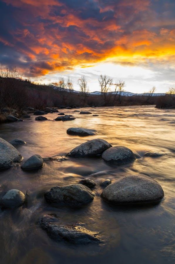 Dragon's Breath by Mike Lindberg - Landscapes Waterscapes ( sierra nevada, desert, reno nevada, eastern sierra, truckee, flow, truckee river, reno, nevada, sunset, high desert, great basin, river )