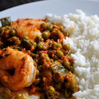 Indian Shrimp with Ginger and Peas.