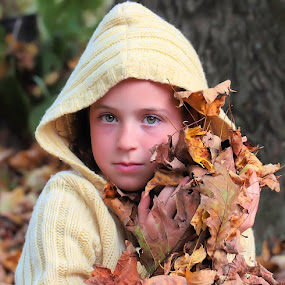 Bunch of Leaves by Sandy Considine - Babies & Children Child Portraits ( child, sweater, chilly. october, fall, leaves )