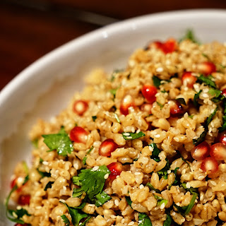 Barley with Pomegranate, Mint and Cilantro.