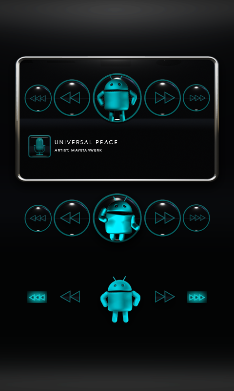 Poweramp Widget Lightblue Droi- screenshot
