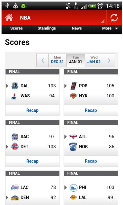 Sports Score - screenshot