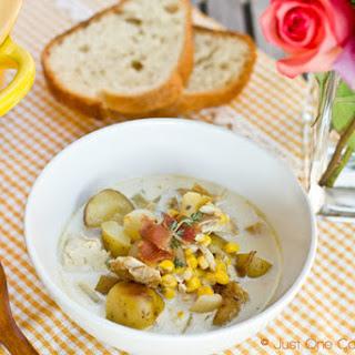 Chicken & Corn Chowder with Roasted Potato
