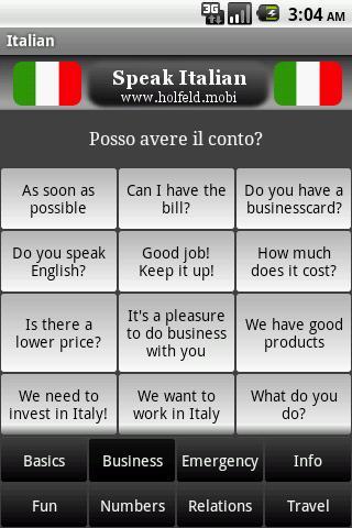 Speak Italian Free- screenshot