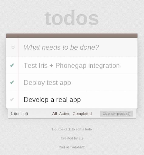 Todo with Phonegap + Iris