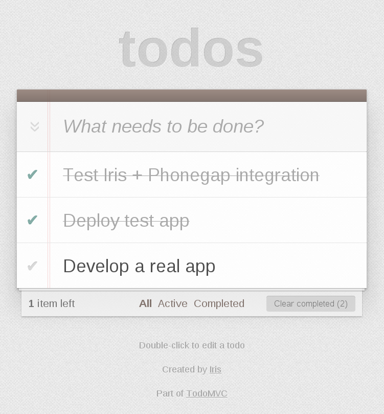 Todo with Phonegap + Iris - screenshot