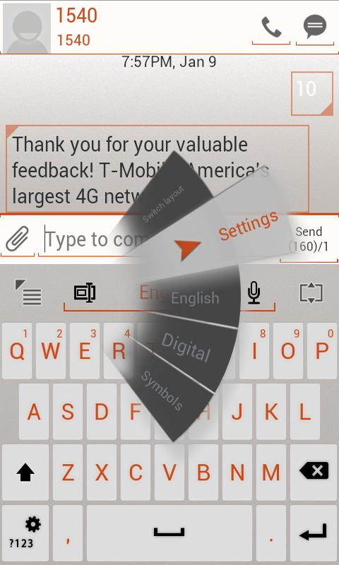 GO Keyboard ICS WHITE Orange - screenshot