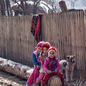 Dont worry,be happy! by Diana Toma - Babies & Children Children Candids ( fence, girls, children, log, rural )
