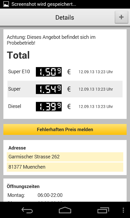 ADAC Spritpreise - screenshot