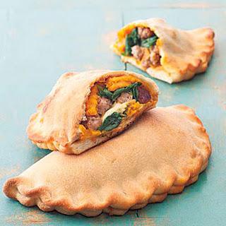 Pumpkin, Sausage and Spinach Calzone