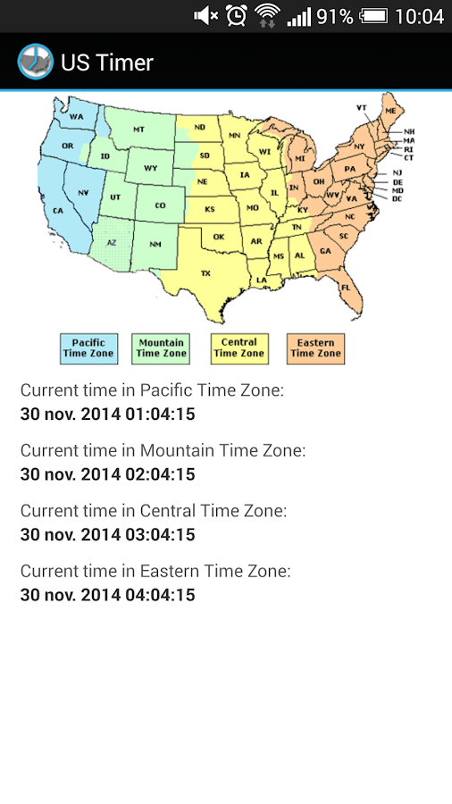 US Timezones clock- screenshot