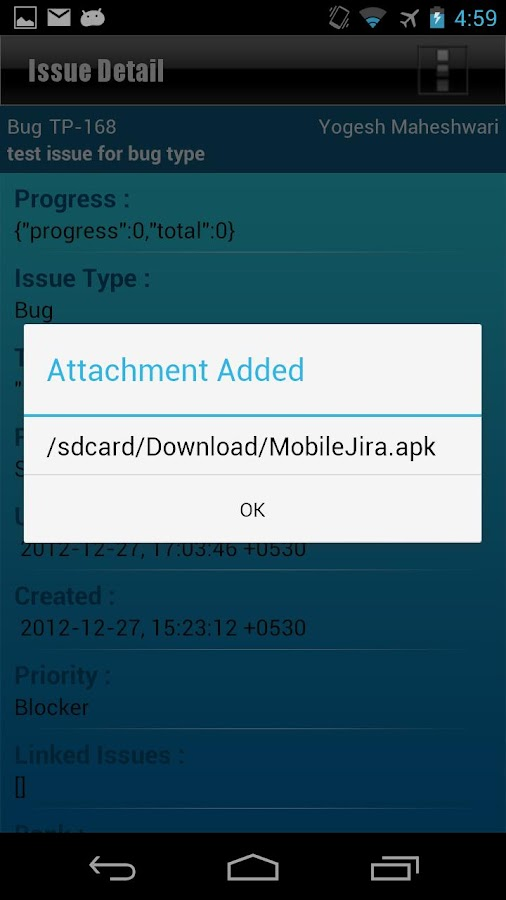 MobileJira- screenshot