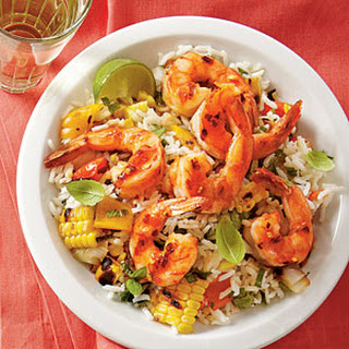 Grilled Lime Shrimp and Vegetable Rice