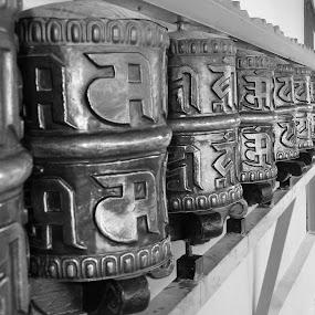 monestary by Vikas Jorwal - Black & White Buildings & Architecture ( roller, tibetan, religon, india, vikas, monestary,  )