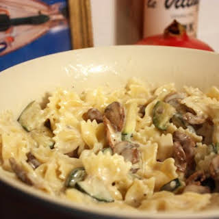 Pasta with Zucchini in a Creamy Mushroom Sauce.