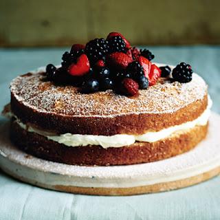 Mascarpone-Filled Cake with Sherried Berries.