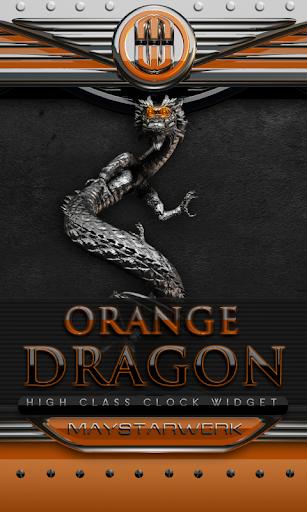ドラゴン時計ウィジェット オレンジ