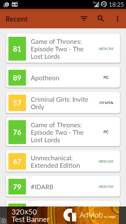 GamePlan: Games on Metacritic- screenshot