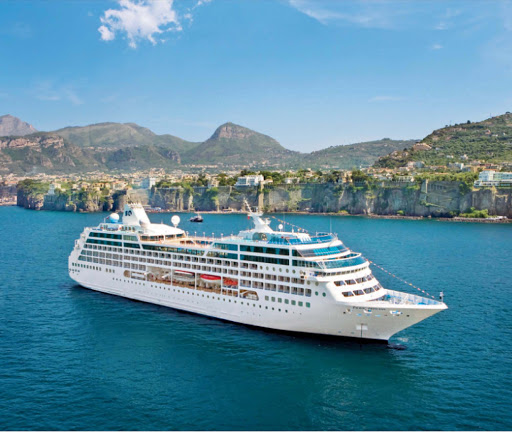Pacific Princess cruises through the waters of picturesque Sorrento, Italy.